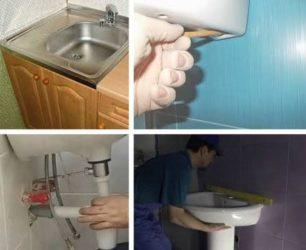 Как крепить раковину в ванной к тумбе?