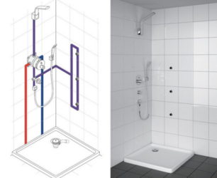 Как установить тропический душ в ванной?